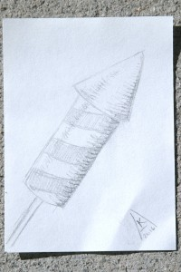 pencil sketch of small firework rocket