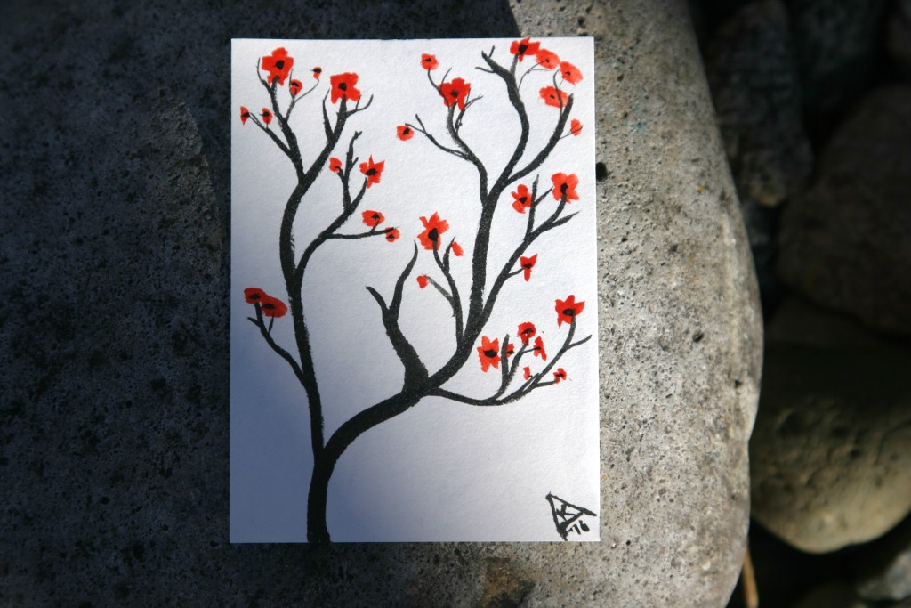 dailyATC day 2 blossoming tree
